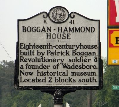 Boggan-Hammond House Marker image. Click for full size.