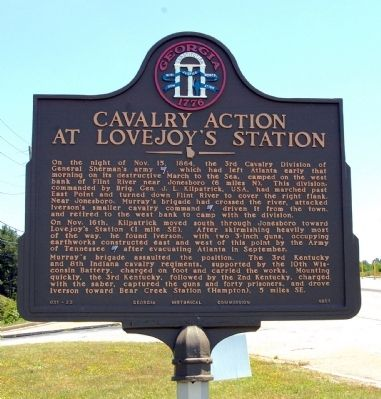 Cavalry Action at Lovejoy's Station Marker image. Click for full size.