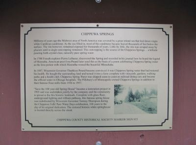 Chippewa Springs Marker image. Click for full size.