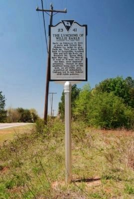 The Lynching Of Willie Earle Marker -<br>Reverse image. Click for full size.