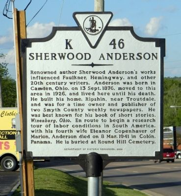 Sherwood Anderson Marker image. Click for full size.
