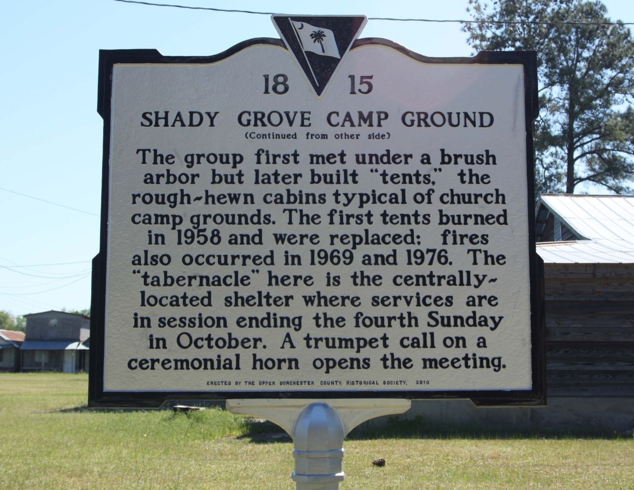 Shady Grove Camp Ground Marker, reverse side