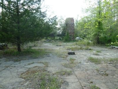 The floor of the furnace/cotton mill ruins, facing West. image. Click for full size.
