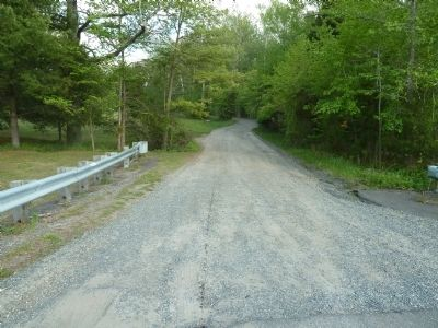 Quaker Bridge Road leaving US 206 and heading into the Pine Barrens. image. Click for full size.