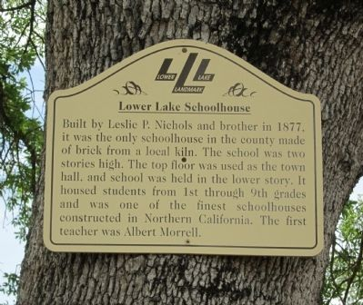 Lower Lake Schoolhouse Marker image. Click for full size.