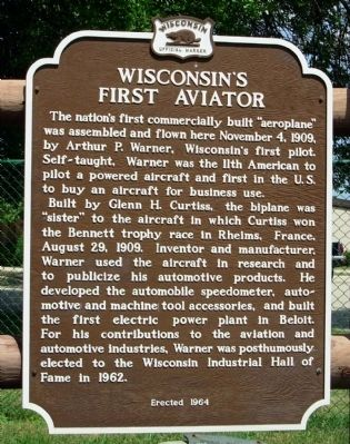 Wisconsin's First Aviator Marker image. Click for full size.