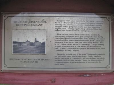 The Jacob Leinenkugel Brewing Company Marker image. Click for full size.