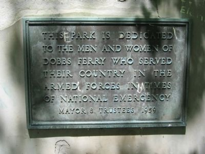 Dobbs Ferry Memorial Park Marker image. Click for full size.