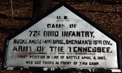 Camp of 72nd Ohio Infantry Marker image. Click for full size.