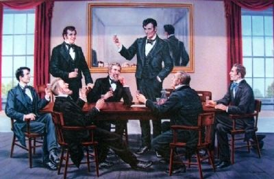 "Painting of Lincoln and Members of the ""Long Nine"" image. Click for full size."