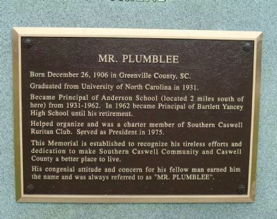 Mr. Plumblee plaque image. Click for full size.