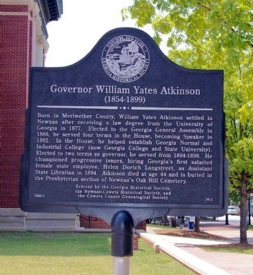 Governor William Yates Atkinson Marker image. Click for full size.
