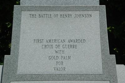 The Battle of Henry Johnson Marker - Top Panel image. Click for full size.