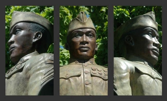 The Battle of Henry Johnson Marker Sculpture - Three Views image. Click for full size.