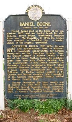Daniel Boone Marker (Back) image. Click for full size.