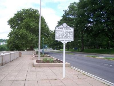 State Capitol Marker seen along Kanawha Blvd looking west image. Click for full size.