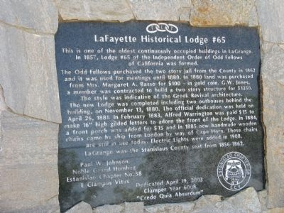 LaFayette Historical Lodge #65 Marker image. Click for full size.
