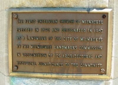 First Unitarian Church of Milwaukee Marker image. Click for full size.