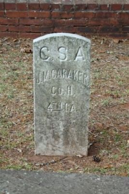 Memory Hill Cemetery, Jacob M. Caraker (Co.. H, 4th GA, Baldwin Blues) image. Click for full size.