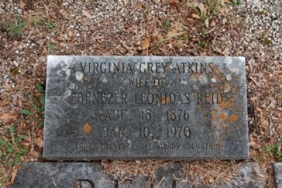Virginia Grey Atkins (Reid) Tombstone<br>Due West A.R.P. Church Cemetery image. Click for full size.