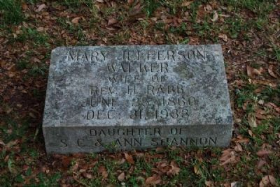 Mary Jefferson Walker Tombstone<br>Due West A.R.P. Church Cemetery image. Click for full size.