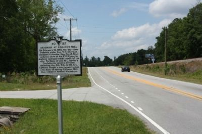 Skirmish at Killian's Mill Marker, looking north along Farrow Road image. Click for full size.