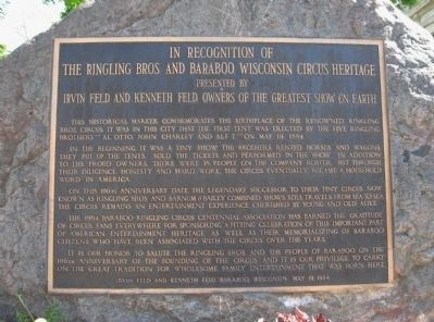The Ringling Bros. and Baraboo, Wisconsin Circus Heritage Marker image. Click for full size.