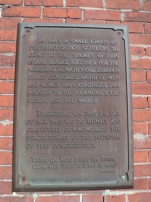 Founding of the Dutch Church Marker image. Click for full size.