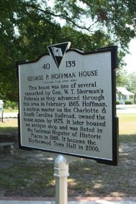 George P. Hoffman House Marker, reverse side image. Click for full size.