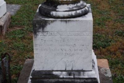 Winfield W & A. Poinsett Lindsay Tombstone<br>Due West ARP Church Cemetery<br>Northeast Inscription image. Click for full size.