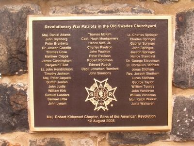 Revolutionary War Patriots in the Old Swedes Churchyard image. Click for full size.