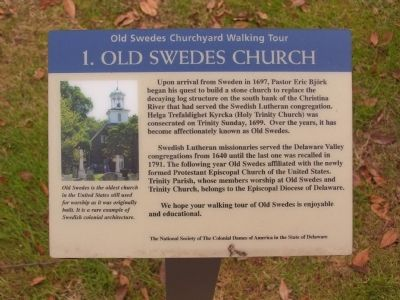Old Swedes Churchyard Walking Tour Markers image. Click for full size.