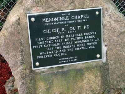 Menominee Chapel Marker - - Re-freshed and re-placed. image. Click for full size.