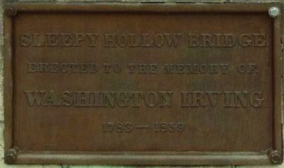 Closeup of Sleepy Hollow Bridge Plaque image. Click for full size.