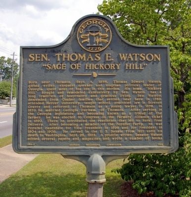 Sen. Thomas E. Watson Marker image. Click for full size.