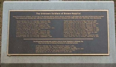 The Unknown Soldiers of Brown Hospital Marker image. Click for full size.