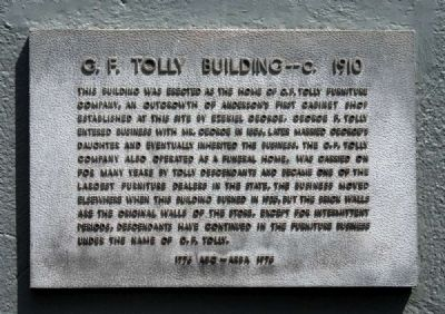 G.F. Tolly Building -- c. 1910 Marker image. Click for full size.