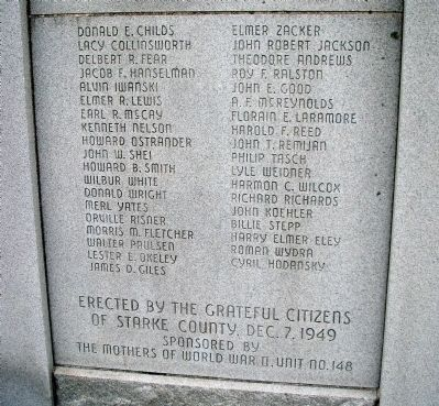 Center - Name Section - - Starke County Honor Rolls Marker image. Click for full size.