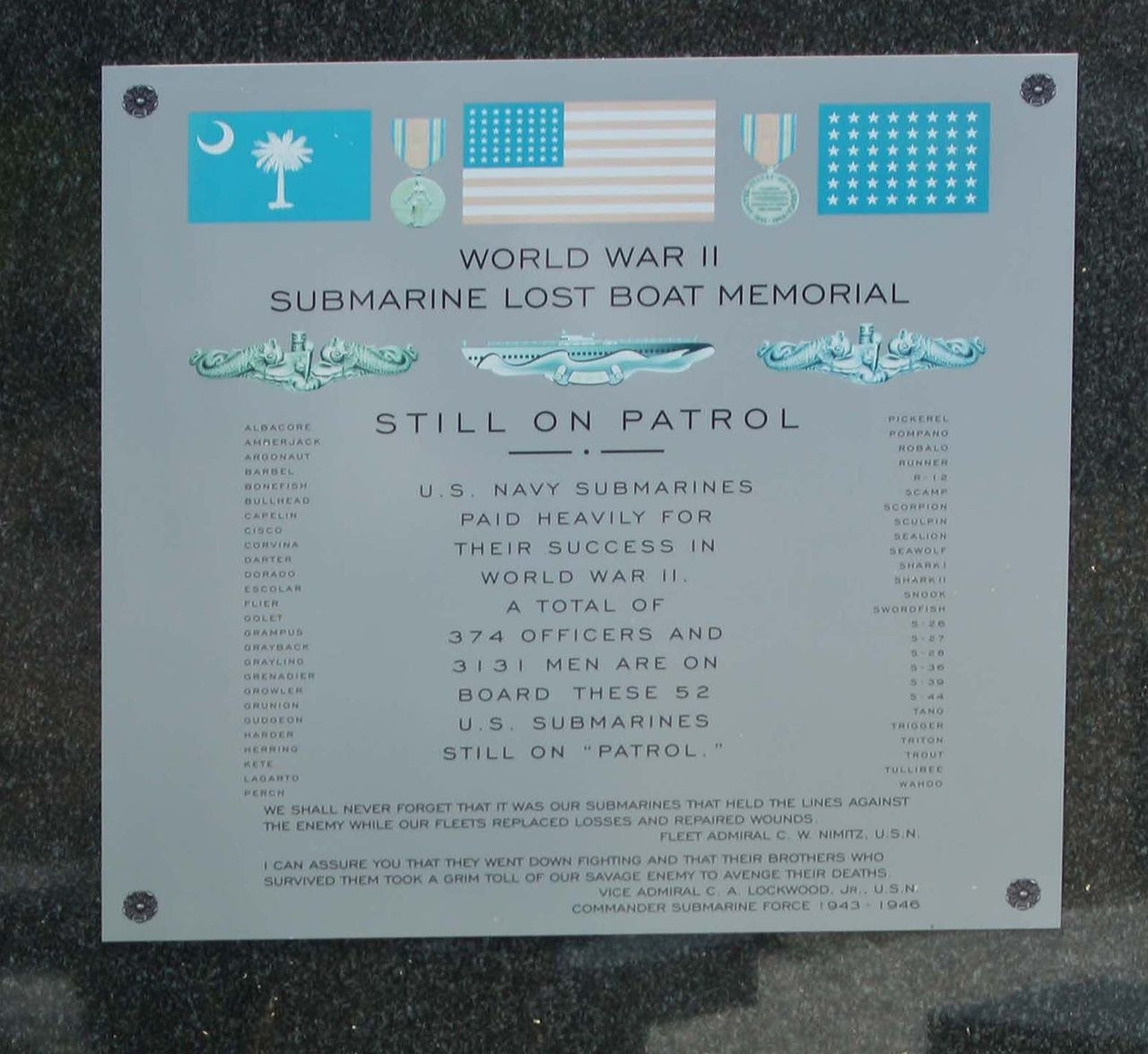 World War II Submarine Lost Boat Memorial Historical Marker