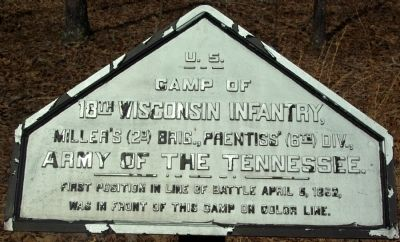 Camp of 18th Wisconsin Infantry Marker image. Click for full size.