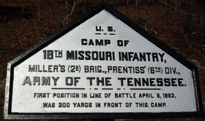 Camp of 18th Missouri Infantry Marker image. Click for full size.