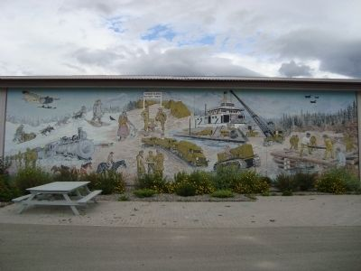 Mural on the Yukon Transportaion Museum, the markers are out-of-sight to the right. image. Click for full size.