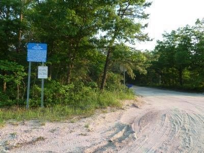 Old Halfway Rd S (unpaved) where it comes off of Rt 72, facing South. image. Click for full size.
