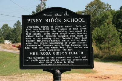 Piney Ridge School Marker image. Click for full size.
