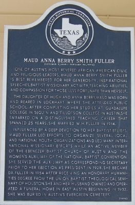 Maud Anna Berry Smith Fuller` Marker image. Click for full size.