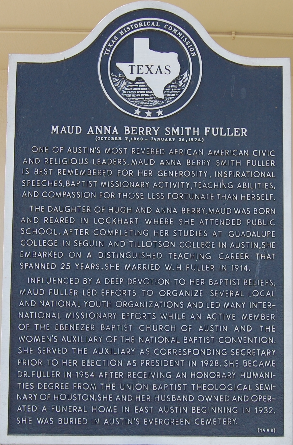 Maud Anna Berry Smith Fuller` Marker