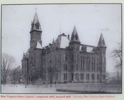 (Lower left picture) West Virginia Capitol, completed 1885, burned 1921 image. Click for full size.