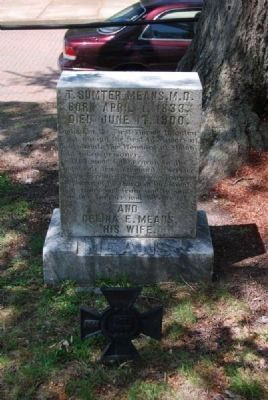 T. Sumter Means, M.D. and<br>Celina Means Tombstone image. Click for full size.