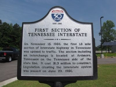 First Section of Tennessee Interstate Marker image. Click for full size.