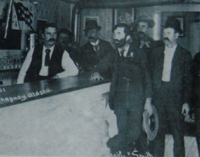 """Soapy"" Smith and several of his gang inside of his parlor, 1898. image. Click for full size."